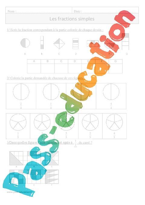 Fractions simples exercices corrig s num ration - Fraction cm1 a imprimer ...