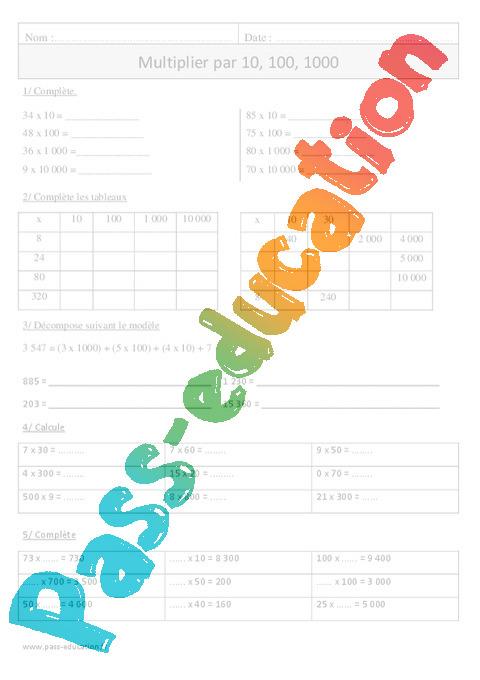 Multiplication par 10 100 1000 exercices corrig s for Exercice de multiplication cm1