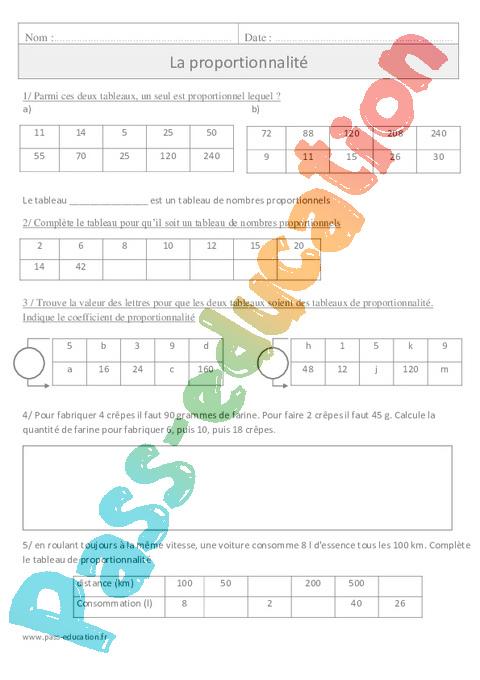Proportionnalité - Exercices corrigés - Organisation et gestion des données - Mathématiques ...