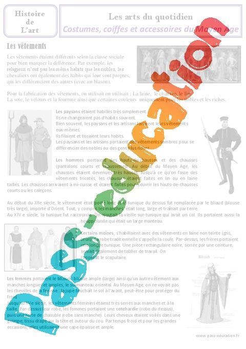 Exceptionnel Costumes et coiffes du Moyen Age - Arts du quotidien - Histoire  QM69