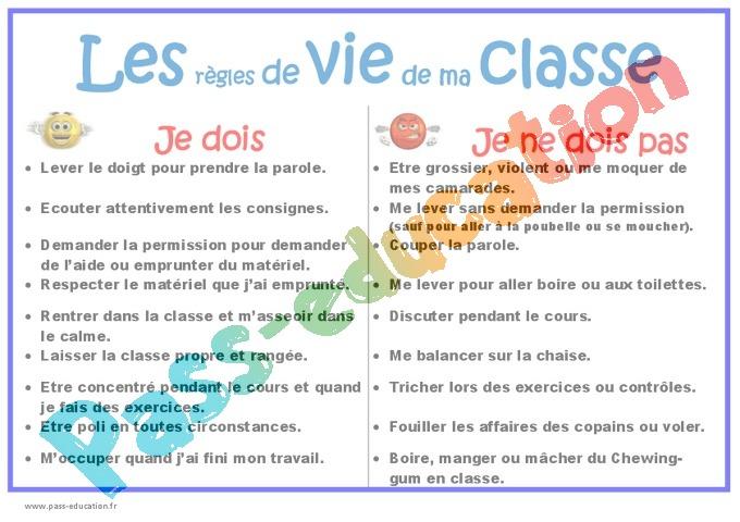 Sehr Les règles de vie de ma classe - Outils de la rentrée : 3eme, 4eme  EP65