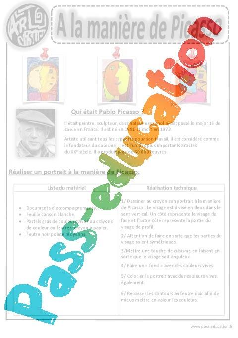 picasso portraits arts visuels 2eme 3eme 4eme 5eme primaire pass education. Black Bedroom Furniture Sets. Home Design Ideas