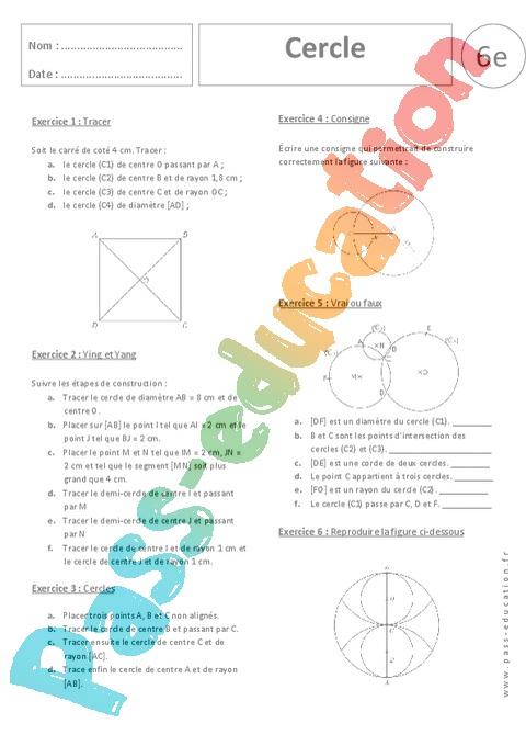 Cercle - Exercices corrigés - Géométrie : 6eme Primaire ...