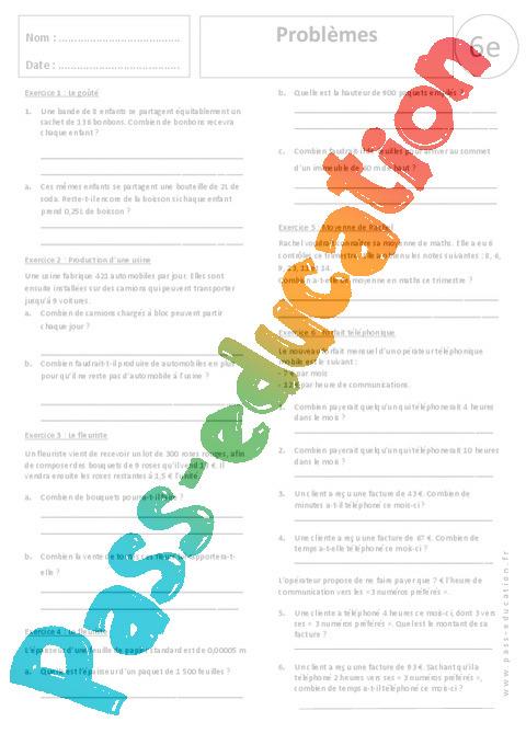 Probl mes divisions exercices corrig s 6eme primaire pass education - Division a imprimer ...