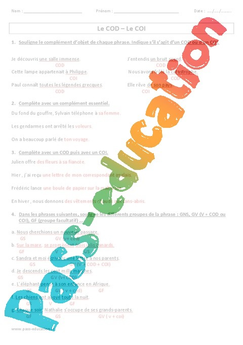 exercice cod coi cos 5eme pdf
