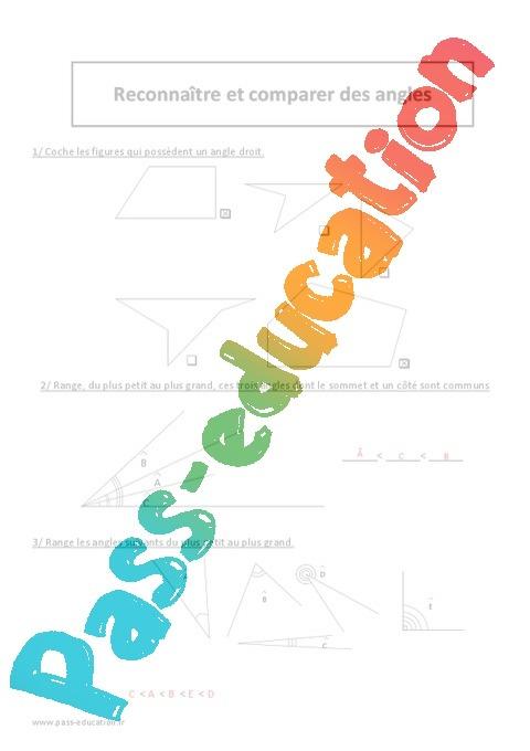 Reconnaître et comparer des angles - Exercices corrigés - Géométrie : 5eme Primaire - Pass Education