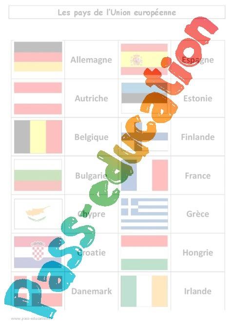 Populaire Pays de l'Union européenne - Drapeau - Exercices corrigés  IV83