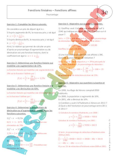 Pourcentage - Fonctions linéaires - Fonctions affines ...