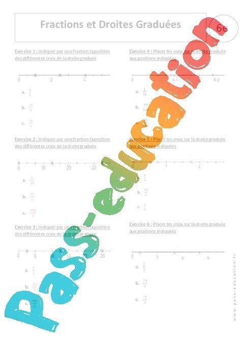 Droite graduée et Fraction - Exercices corrigés - Ecritures fractionnaires : 6eme Primaire ...