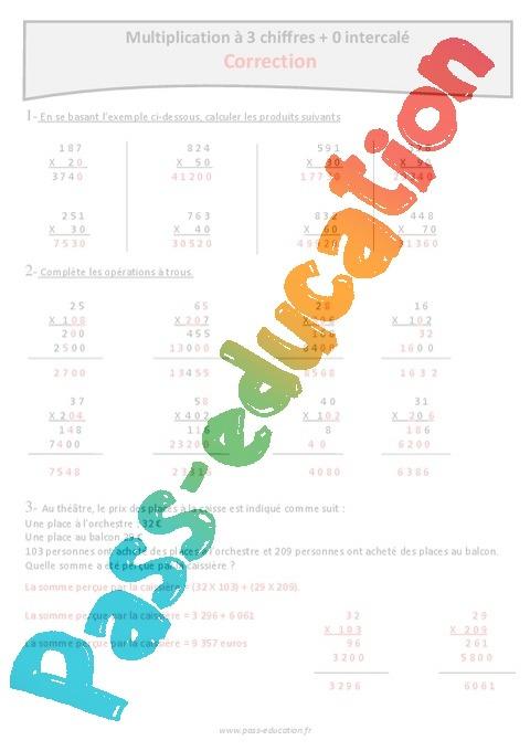 Exercice multiplication trou for Exercice de multiplication cm1