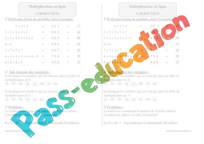Multiplication en ligne exercices imprimer 2eme for Multiplication de 8