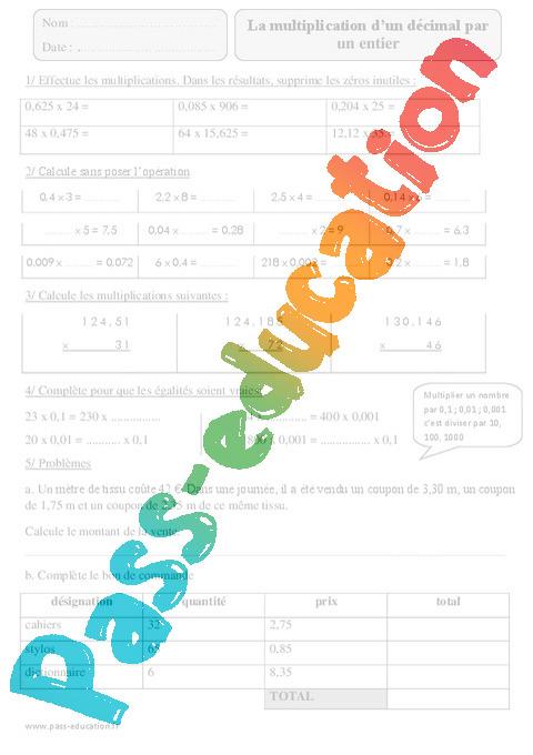 Multiplication d un d cimal par un entier exercices imprimer 5eme primaire pass education - Exercice multiplication a imprimer ...