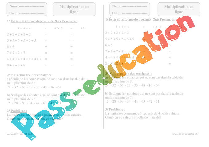Multiplication en ligne exercices imprimer 2eme for Revision table de multiplication