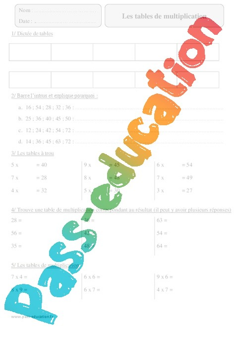 Tables de multiplication exercices imprimer avec for Exercice table de 7