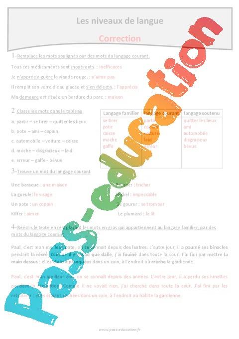 Coloriage Magique Registre De Langue.Langage Familier Courant Soutenu Exercices Sur Les Niveaux De