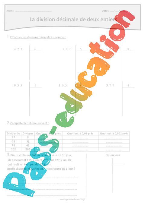 Division d cimale de deux entiers exercices imprimer 5eme primaire pass education - Division a imprimer ...