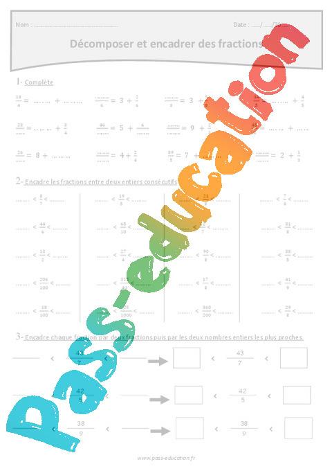 Fraction - Encadrer et décomposer - Exercices à imprimer ...