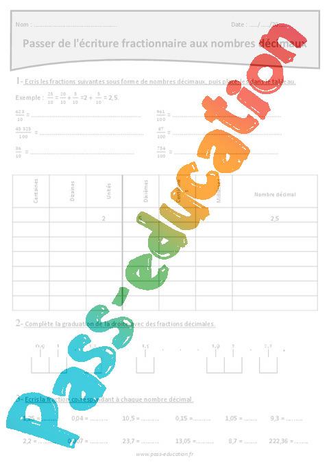 Passer de l'écriture fractionnaire aux nombres décimaux - Exercices : 5eme Primaire - Pass Education