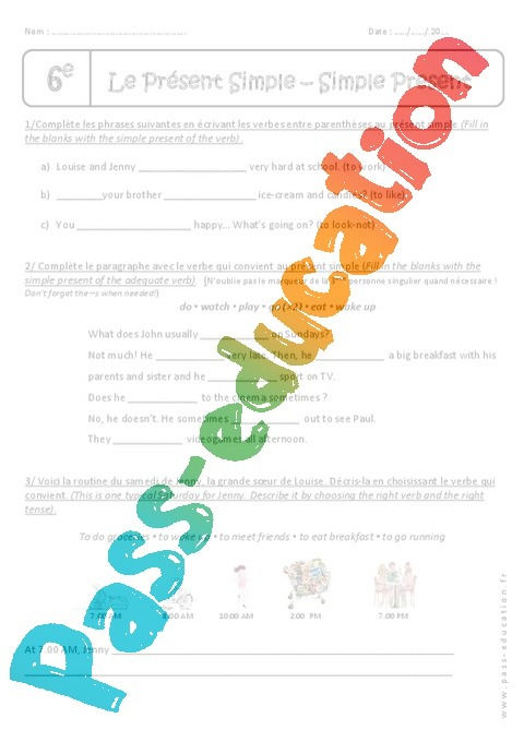 Populaire Verbes au présent simple - Exercices à imprimer : 6eme Primaire  BT83
