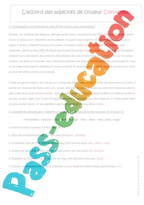 Accord des adjectifs de couleur - Exercices : 1ere ...