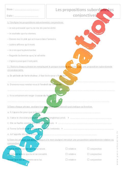 Subordonnées conjonctives - Exercices sur les propositions ...