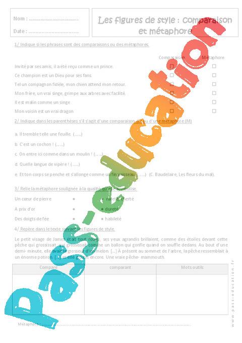 Comparaison et métaphore - Exercices : 1ere Secondaire ...