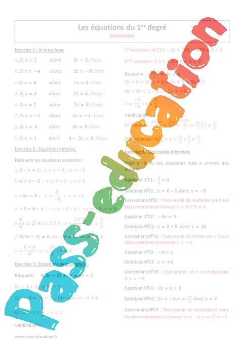 Equations du 1er degré - Exercices corrigés : 2eme ...
