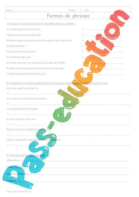 Exercice phrase affirmative et négative cm2