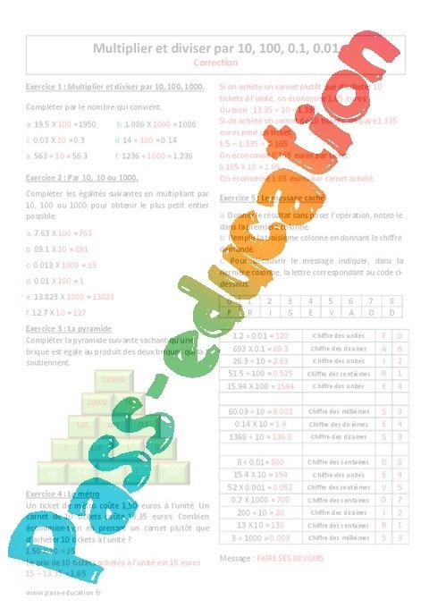 Bien connu Diviser et multiplier par 10, 100, 0.1, 0.01 - Exercices à  JT72