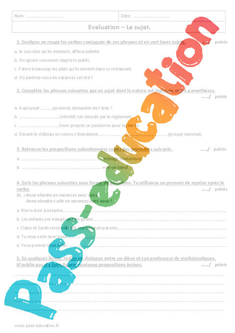 Sujet Examen Controle Avec Le Corrige 6eme Primaire