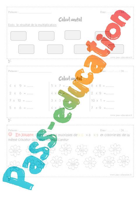 Calcul mental exercice et bilan semaine 29 32 4eme for Revision table de multiplication