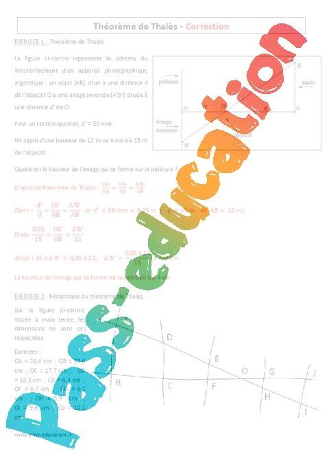 theoreme de thales 3eme exercice
