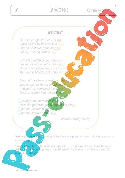 Invictus Lecture Compréhension En Anglais 3eme