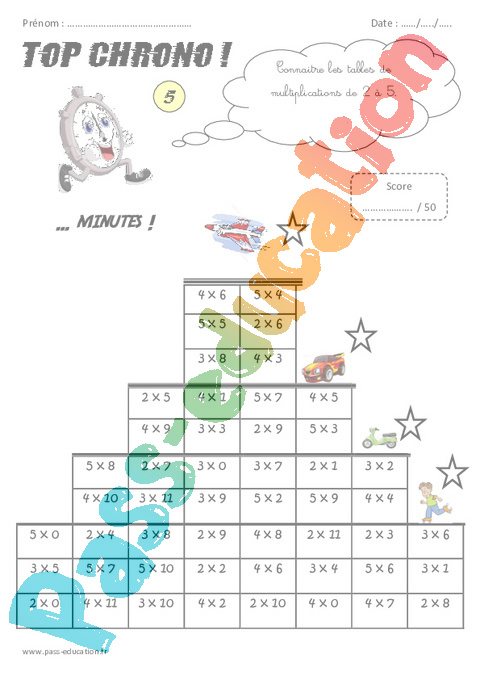 Calcul mental top chrono rituel 5eme primaire pass - Calcul mental table de multiplication ...