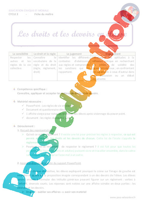 Préférence Droits et devoirs en classe - Fiche de préparation : 4eme, 5eme  GH79