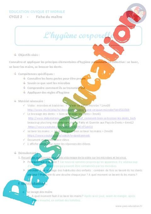 Bien connu Hygiène corporelle - Fiche de préparation - EMC : 1ere, 2eme, 3eme  RK98