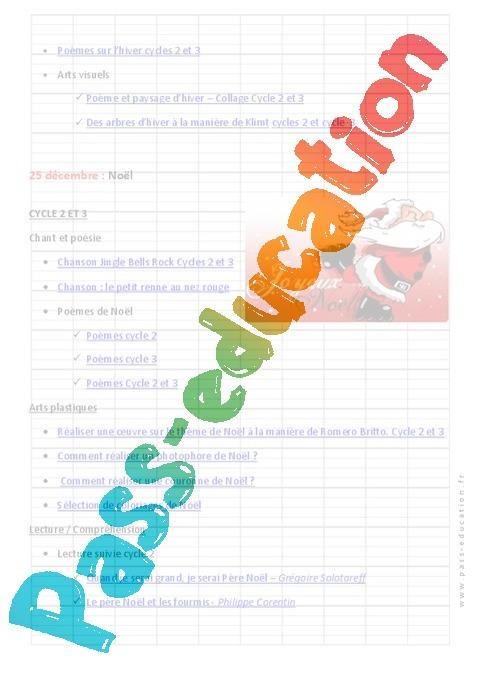 Calendrier Pedagogique.Calendrier Pedagogique Noel Decembre Primaire Cycle