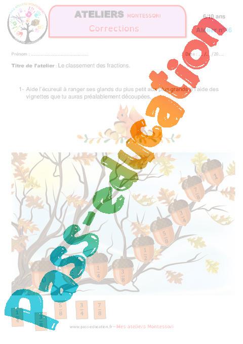 Le classement des fractions - Algèbre - Montessori ...