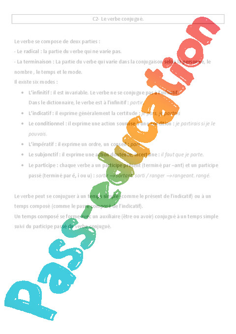 Verbe Conjugue Cours Lecon Conjugaison 5eme Primaire Pass Education