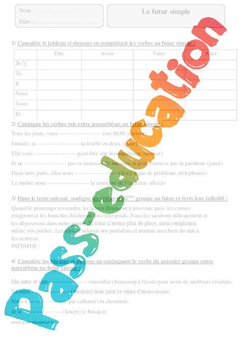 Futur Simple Exercices Corriges Conjugaison 4eme Primaire Pass Education