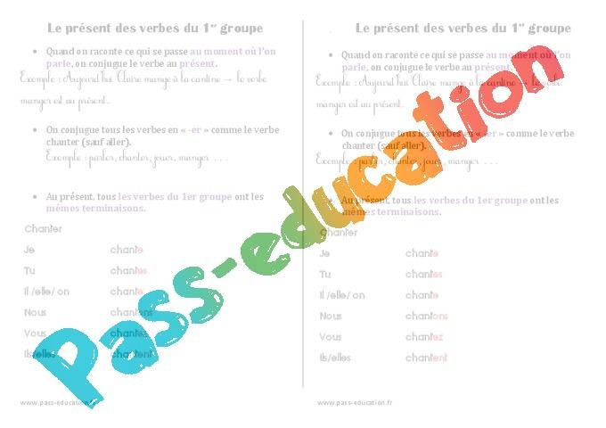 Present Des Verbes Du 1er Groupe Cours Lecon 2eme Primaire Pass Education