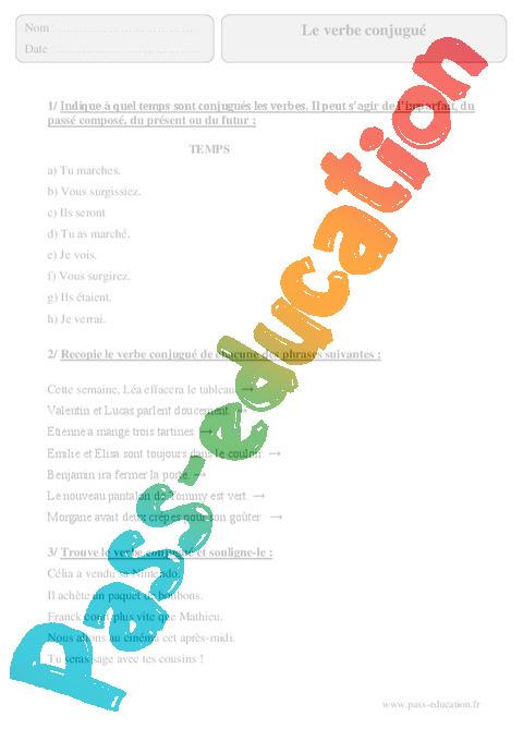 Verbe Conjugue Exercices Corriges Grammaire Francais 5eme Primaire Pass Education