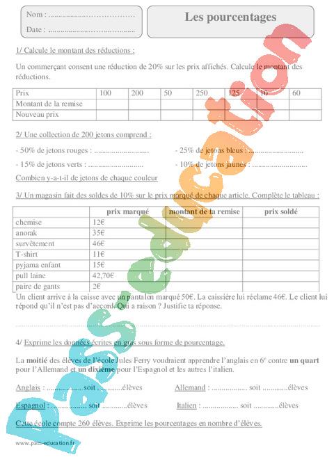 Pourcentages - Proportionnalité - Exercices avec ...