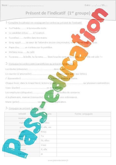 Verbes Du 1er Groupe Present De L Indicatif Exercices 5eme Primaire Pass Education