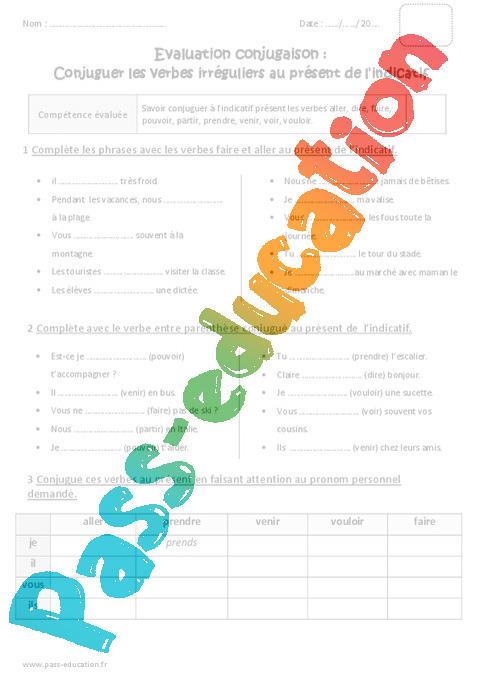 Verbes Irreguliers Au Present Bilan 5eme Primaire Pass Education