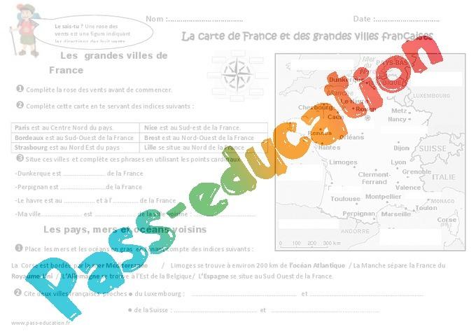 Grandes villes françaises - Carte de France - Exercices - Pass Education