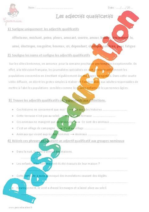 Adjectifs Qualificatifs Exercices A Imprimer 5eme Primaire Pass Education