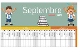 Poutre du temps - Calendrier 2019 / 2020 - Calendrier scolaire : Primaire - Cycle Fondamental