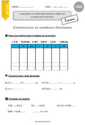 Contenance et nombres décimaux - Exercices à imprimer : 5eme Primaire