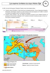 Empires chrétiens du Haut Moyen Âge- Fiches Empire carolingien - Empire byzantin - Cours - Histoire : 6eme Primaire
